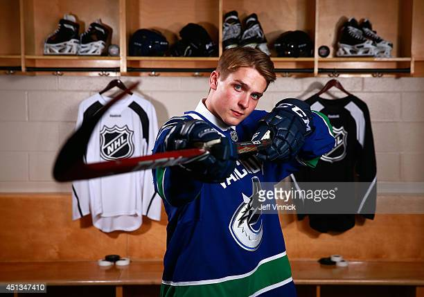 Sixth overall pick Jake Virtanen of the Vancouver Canucks poses for a portrait during the 2014 NHL Entry Draft at Wells Fargo Center on June 27 2014...