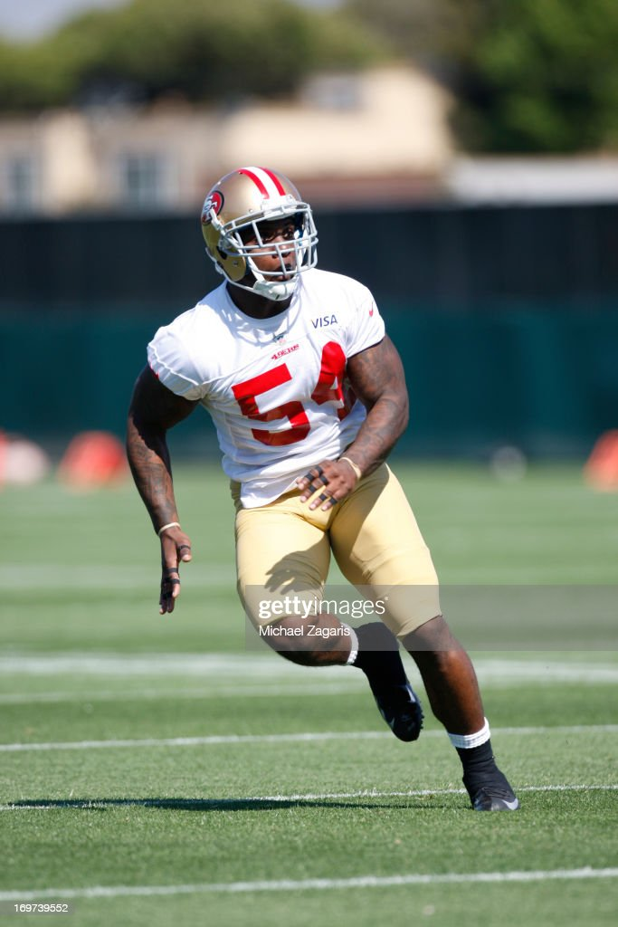Sixth round draft pick Nick Moody works out during the San Francisco 49ers Rookie Camp at the team training complex facility on May 10, 2013 in Santa Clara, California