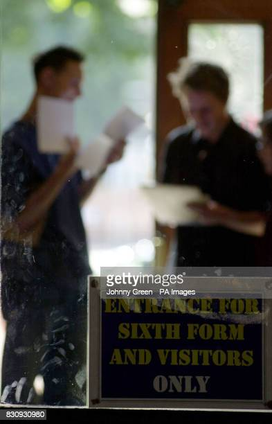 Sixthform students open their ALevel exam results at St Dunstan's College in Catford southeast London *140803*Sixthform students opening their ALevel...