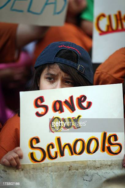 Sixthgrade student Jocelyn Padilla protests with other students and parents outside the office of Chicago Board of Education President David Vitale...