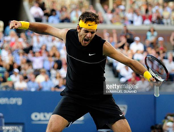 Sixthseeded Argentinian Juan Martin Del Potro celebrates winning the second set during the US Open men's final against top seed Roger Federer of...