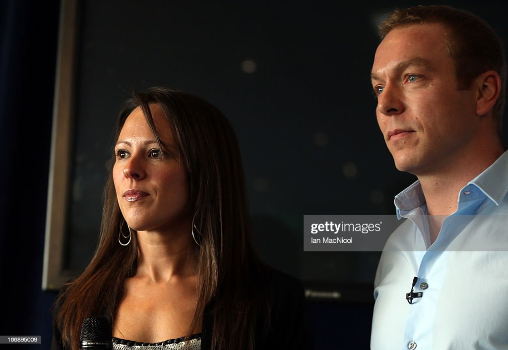 Six-time Olympic gold medallist Sir Chris Hoy and his wife Sarra announce his retirement at a press conference at Murrayfield stadium on April 18, 2013 in Edinburgh, Scotland.