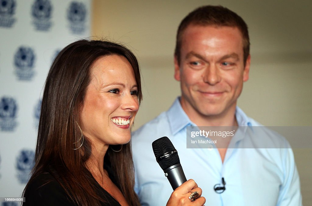 Six-time Olympic gold medallist Sir <a gi-track='captionPersonalityLinkClicked' href=/galleries/search?phrase=Chris+Hoy&family=editorial&specificpeople=171259 ng-click='$event.stopPropagation()'>Chris Hoy</a> and his wife Sarra smile as he announces his retirement at a press conference at Murrayfield stadium on April 18, 2013 in Edinburgh, Scotland.
