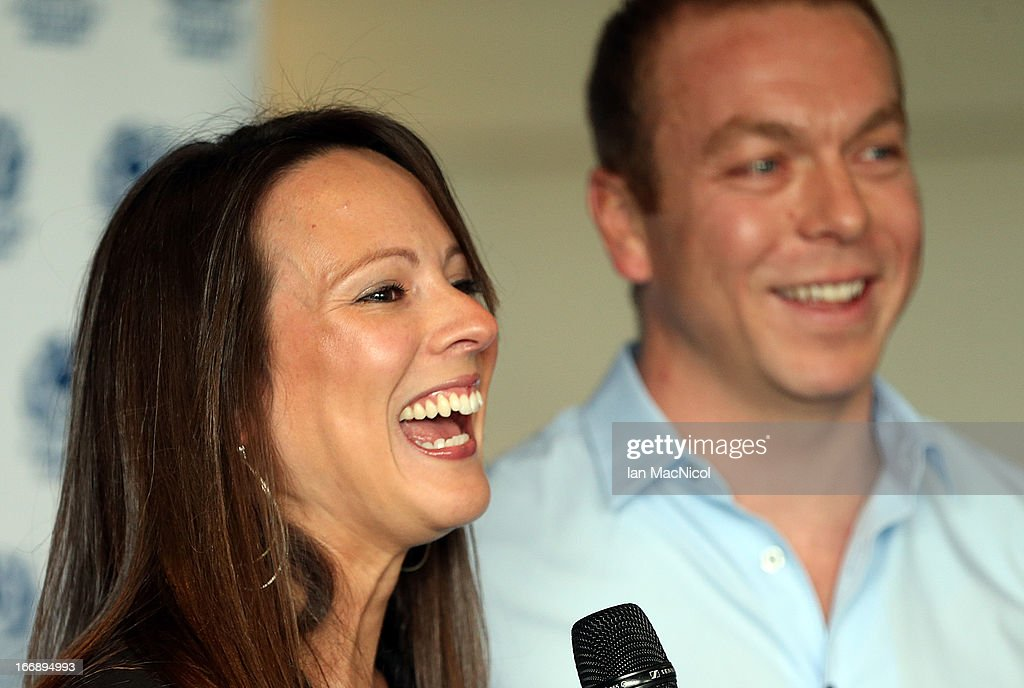 Six-time Olympic gold medallist Sir Chris Hoy and his wife Sarra smile as he announces his retirement at a press conference at Murrayfield stadium on April 18, 2013 in Edinburgh, Scotland.