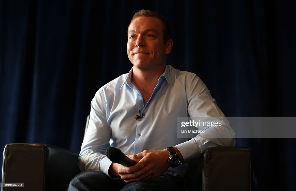 Six-time Olympic gold medallist Sir <a gi-track='captionPersonalityLinkClicked' href=/galleries/search?phrase=Chris+Hoy&family=editorial&specificpeople=171259 ng-click='$event.stopPropagation()'>Chris Hoy</a> smiles as he announces his retirement at a press conference at Murrayfield stadium on April 18, 2013 in Edinburgh, Scotland.