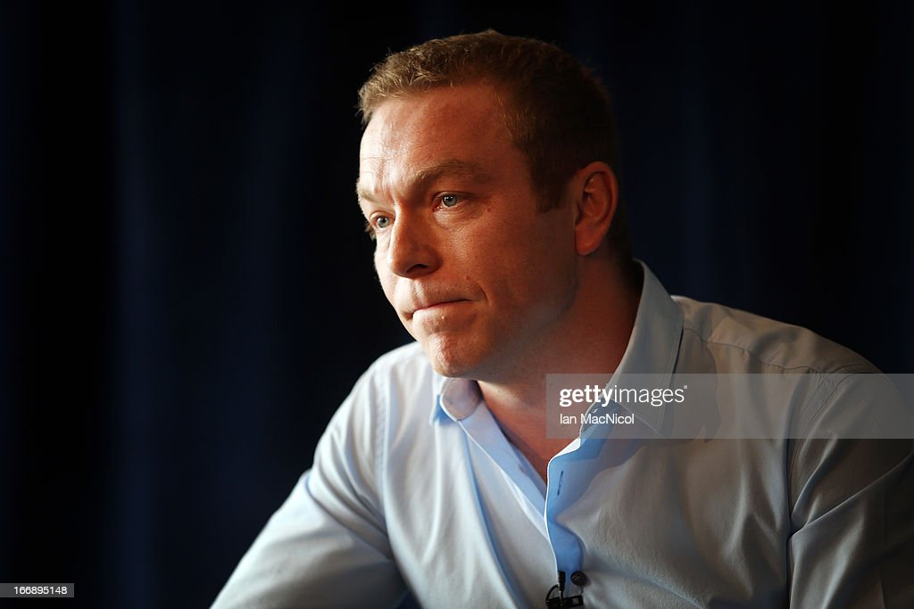 Six-time Olympic gold medallist Sir <a gi-track='captionPersonalityLinkClicked' href=/galleries/search?phrase=Chris+Hoy&family=editorial&specificpeople=171259 ng-click='$event.stopPropagation()'>Chris Hoy</a> speaks to members of the media as he announces his retirement at a press conference at Murrayfield stadium on April 18, 2013 in Edinburgh, Scotland.