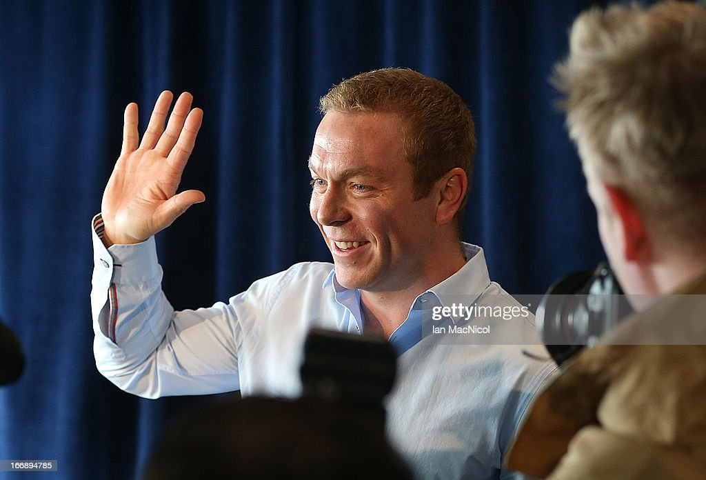 Six-time Olympic gold medallist Sir <a gi-track='captionPersonalityLinkClicked' href=/galleries/search?phrase=Chris+Hoy&family=editorial&specificpeople=171259 ng-click='$event.stopPropagation()'>Chris Hoy</a> waves as he announces his retirement at a press conference at Murrayfield stadium on April 18, 2013 in Edinburgh, Scotland.