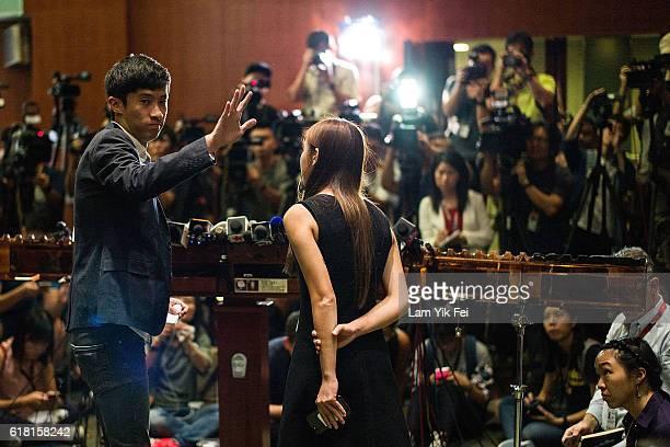 Sixtus Leung and Yau Waiching speak to media at Legislative Council on October 26 2016 in Hong Kong Hong Kong ProHong Kong independence party...