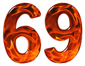 69, sixty nine, numeral, imitation glass and a blazing fire, isolated on white background