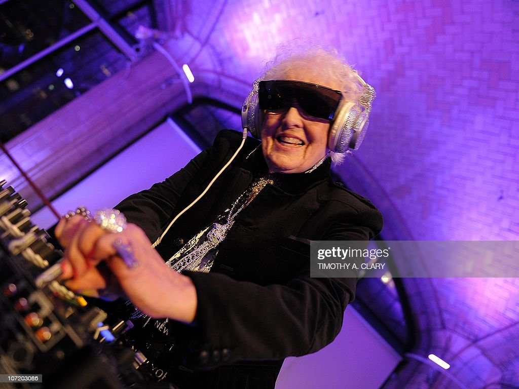 Sixty-nine year-old English deejay <a gi-track='captionPersonalityLinkClicked' href=/galleries/search?phrase=Ruth+Flowers&family=editorial&specificpeople=5862454 ng-click='$event.stopPropagation()'>Ruth Flowers</a> aka DJ Mamy Rock from Bristol, England performs in her first New York appearance at the Carter Burden Center for the Aging's 31st Annual Dinner Dance and Awards Ceremony at Guastavino's in New York November 29, 2010. Flowers, a grandmother, is taking the European dance club circuit by storm. AFP PHOTO / TIMOTHY A. CLARY