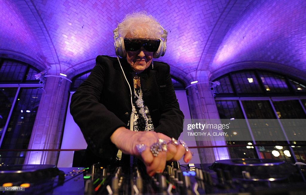 Sixty-nine year-old English deejay Ruth Flowers aka DJ Mamy Rock from Bristol, England performs in her first New York appearance at the Carter Burden Center for the Aging's 31st Annual Dinner Dance and Awards Ceremony at Guastavino's in New York November 29, 2010. Flowers, a grandmother, is taking the European dance club circuit by storm. AFP PHOTO / TIMOTHY A. CLARY