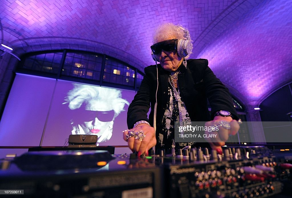 Sixty-nine-year-old English deejay <a gi-track='captionPersonalityLinkClicked' href=/galleries/search?phrase=Ruth+Flowers&family=editorial&specificpeople=5862454 ng-click='$event.stopPropagation()'>Ruth Flowers</a> aka DJ Mamy Rock from Bristol, England performs in her first New York appearance at the Carter Burden Center for the Aging's 31st Annual Dinner Dance and Awards Ceremony at Guastavino's in New York November 29, 2010. Flowers, a grandmother, is taking the European dance club circuit by storm. AFP PHOTO / TIMOTHY A. CLARY
