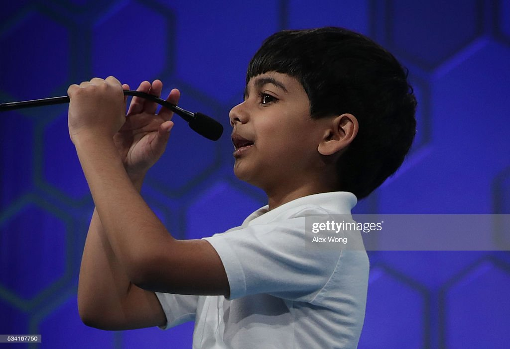 Six-year-old Akash Vukoti of San Angelo, Texas, participates in round two of the 2016 Scripps National Spelling Bee May 25, 2016 in National Harbor, Maryland. Students from across the country gathered to compete for the top honor at the annual spelling championship.