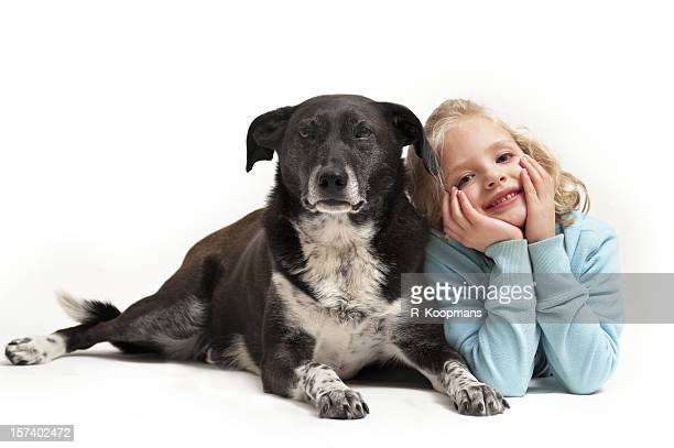 Six-year-old girl and her pet dog