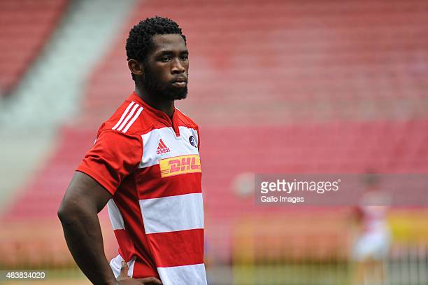 Siya Kolisi looks on during the DHL Stormers training session at DHL Newlands Stadium on February 19 2015 in Cape Town South Africa
