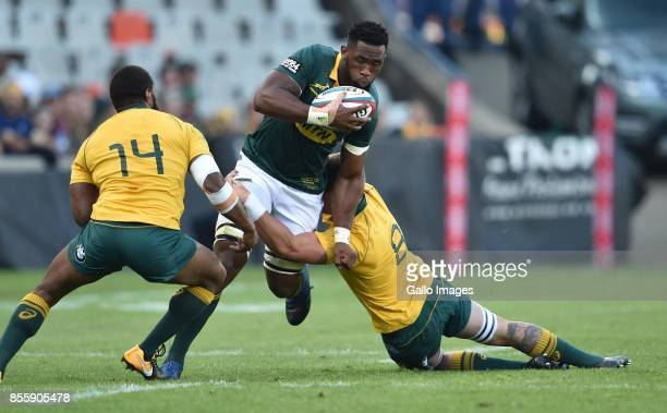 Siya Kolisi of the Springboks charges upfield during the Rugby Championship 2017 match between South Africa and Australia at Toyota Stadium on...