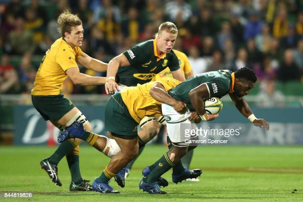 Siya Kolisi of the Springboks is tackled during The Rugby Championship match between the Australian Wallabies and the South Africa Springboks at nib...
