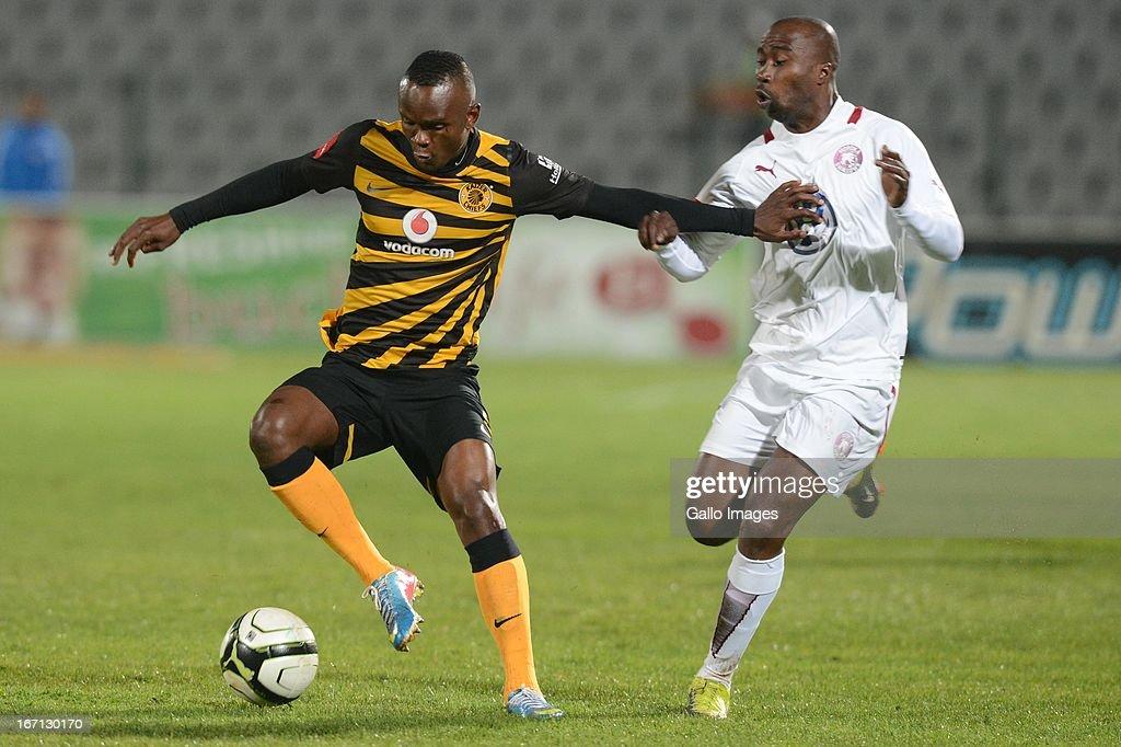 Siyabonga Nomvethe of Moroka Swallows tackles Siboniso Gaxa of Kaizer Chiefs during the Absa Premiership match between Moroka Swallows and Kaizer...