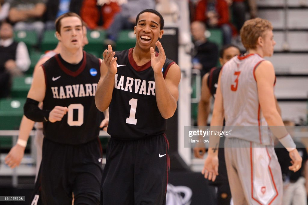 Siyani Chambers #1 of the Harvard Crimson celebrates after making a three-pointer in the second half while taking on the New Mexico Lobos during the second round of the 2013 NCAA Men's Basketball Tournament at EnergySolutions Arena on March 21, 2013 in Salt Lake City, Utah.