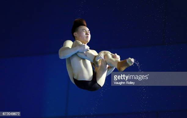 Siyi Xie of China competes in the Men's 3m Semifinal A during the 2017 FINA Diving World Series at the Windsor International Aquatic and Training...