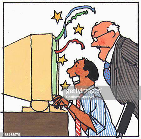 Size as needed Al Phillips color illustration of angry boss watching man play computer game on office computer