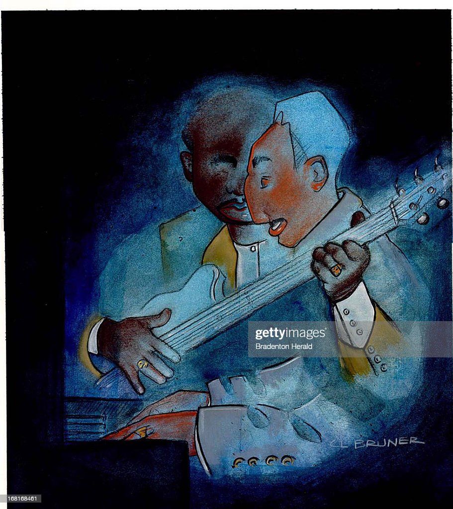 Size as needed (160 dpi, 40p x 45p), C. L. Bruner color illustration of blues guitar players. Can be used with stories about blues music.