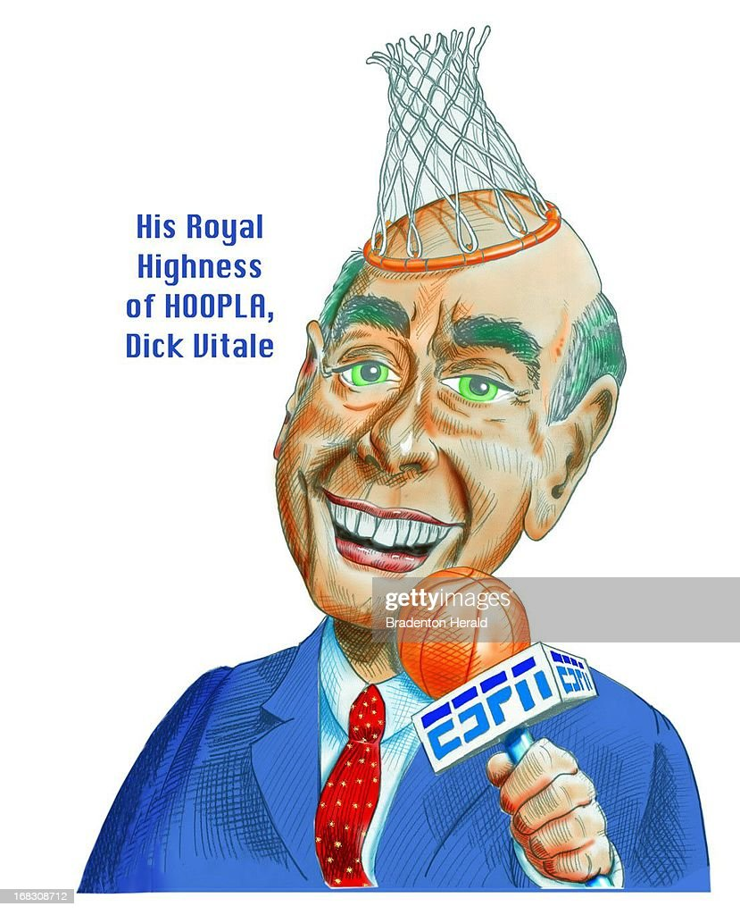 Size as needed (160 dpi, 41p x 51p), Carl Vaughan color illustration of basketball commentator Dick Vitale.
