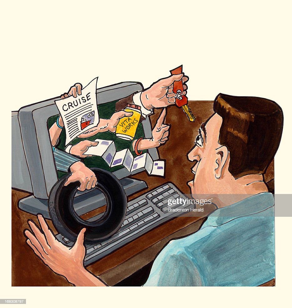 Size as needed (160 dpi, 35p x 37p), Carl Vaughan color illustration of man looking at hands poking from computer screen and offering him products. Can be used with stories about computer or Internet marketing.