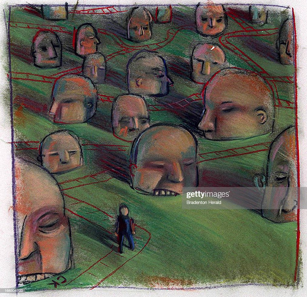 Size as needed (160 dpi, 38p x 37p), Christopher Kaeser color illustration of person wandering through maze of angry heads. Can be used with stories about customer satisfaction, consumer protection.