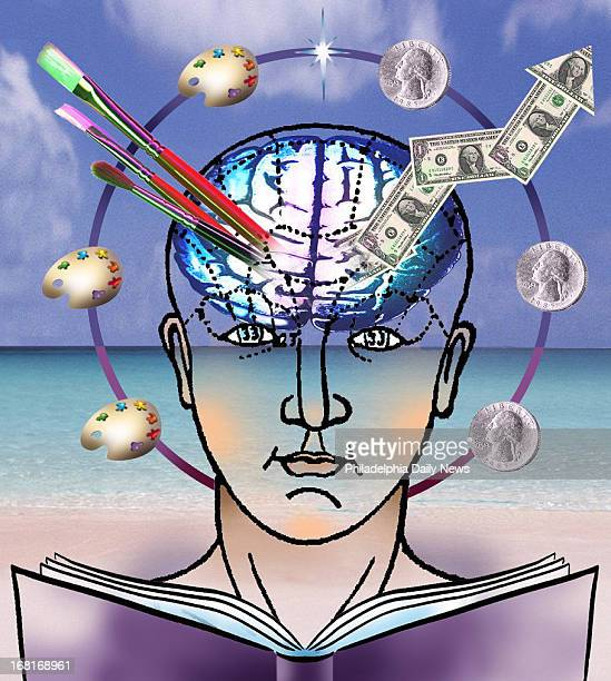Size as needed Color illustration of human head cut away to show brain one side of brain has money images other side has artistic images Can be used...