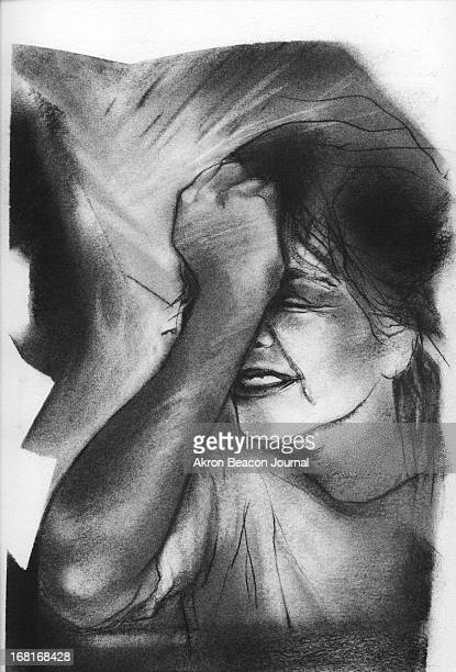 Size as needed Dennis Balogh BW illustration of anguished young woman holding her fist to her head