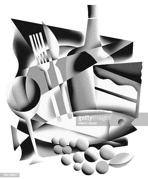 Size as needed Janet Santelices BW illustration montage of food items – fork knife glass fish bottle cake fruit etc Can be used with Thanksgiving...