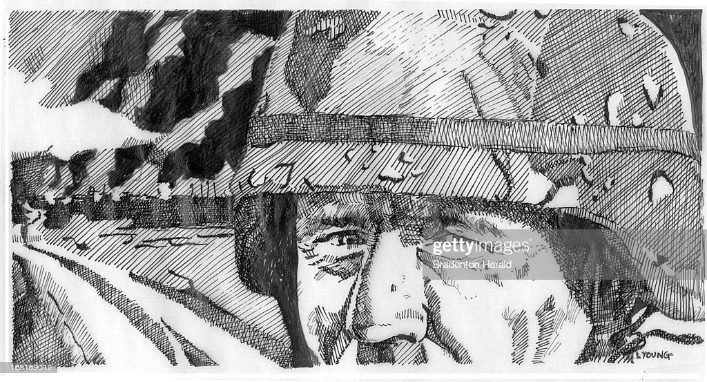 Size as needed (160 dpi, 52p x 28p), Lisa Young B&W illustration of Gulf War soldier. Can be used with stories about Gulf War syndrome; also will work with stories about soldiers, war in general.