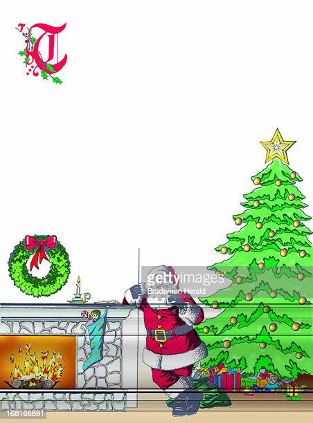 Size as needed Nancy Zeigler color illustration of Santa Claus leaning against fireplace eating his snack after leaving the presents under the tree