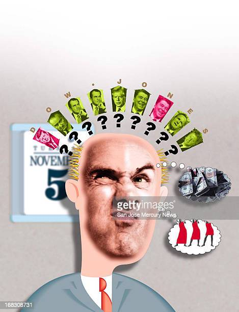 Size as needed Reid Brown color photo illustration of puzzled man thinking about effect of past elections on Dow Jones average