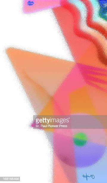 Size as needed Stylized Kirk Lyttle color illustration of woman's breast for use with story about cultural obsession with breasts