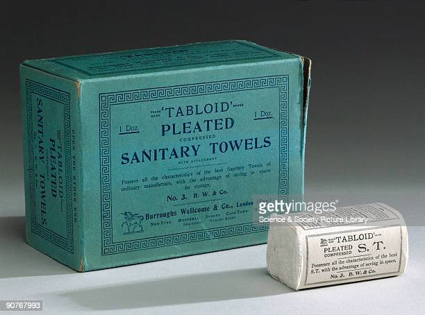 Size number three sanitary towels with attachment made by Burroughs Wellcome and Co London Disposable sanitary towels were introduced in the 1890s as...