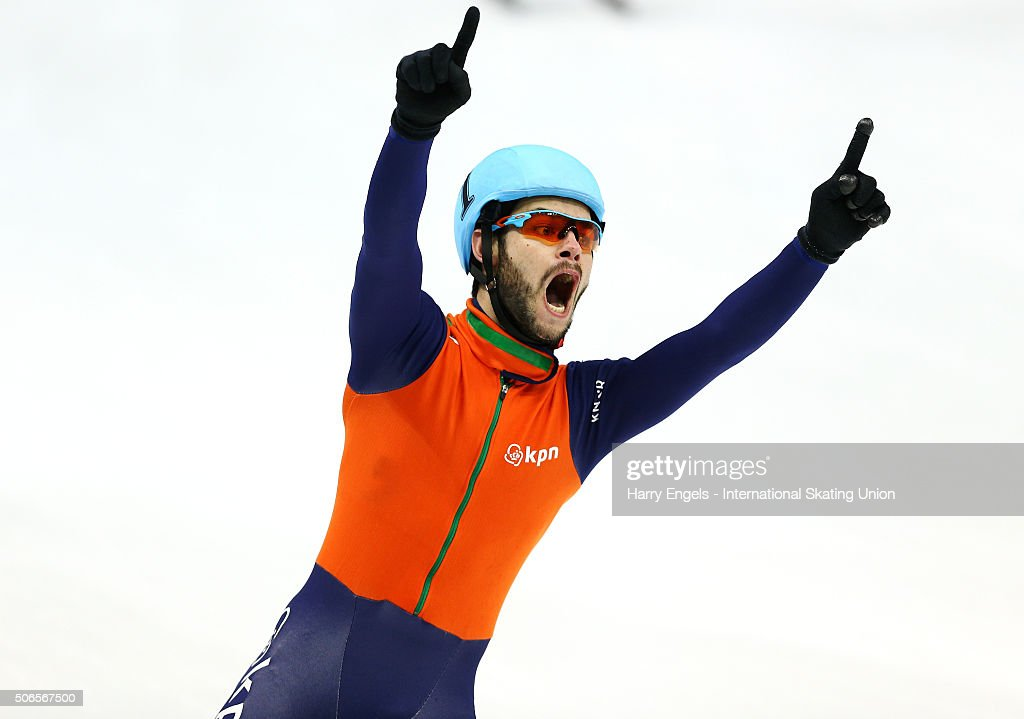 Sjinkie Knegt of the Netherlands celebrates winning the Men's 5000m Relay Final on day three of the ISU European Short Track Speed Skating...