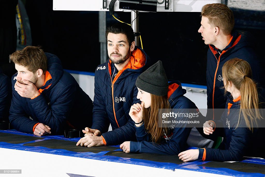 <a gi-track='captionPersonalityLinkClicked' href=/galleries/search?phrase=Sjinkie+Knegt&family=editorial&specificpeople=5581263 ng-click='$event.stopPropagation()'>Sjinkie Knegt</a> of the Netherlands looks on from the sidelines during ISU Short Track Speed Skating World Cup held at The Sportboulevard on February 14, 2016 in Dordrecht, Netherlands.