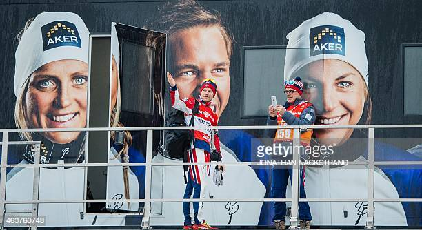 Sjur Rothe of Norway pose for a photo on the Norwegian cross country ski team official truck ahead of the FIS Nordic World Ski Championships in the...