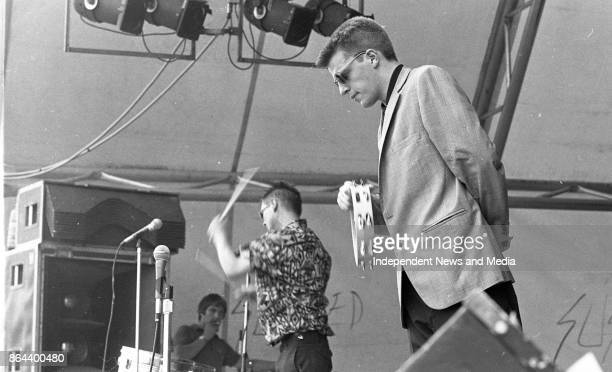 Ska musician Suggs from the band Madness on stage during the Castlebar Rock Festival Co Mayo August 1 1982