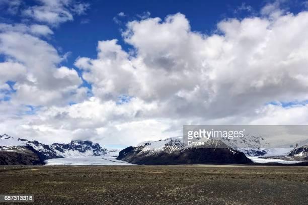 Skaftafell Mountains and Glacier With Dramatic Sky, Vatnajokull, Iceland