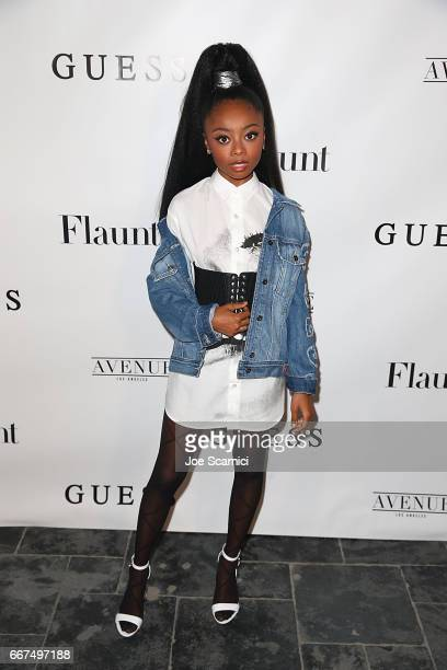 Skai Jackson arrives at the Flaunt and Guess celebration of the Alternative Facts Issue hosted by Joe Jonas and DNCE at Avenue on April 11 2017 in...