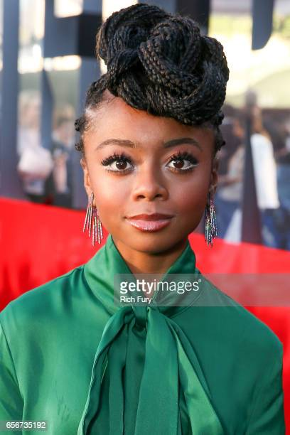 Skai Jackson arrives at the premiere of Lionsgate's 'Power Rangers' at the Westwood Village Theatre on March 22 2017 in Westwood California