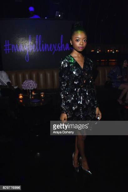 Skai Jackson attends Maybelline New York Celebrates First Ever Cobranded Product Collection With Beauty Influencer Shayla Mitchell at 1OAK on August...