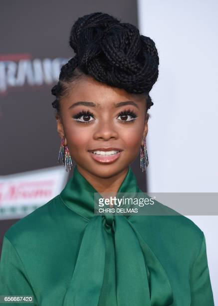Skai Jackson attends the red carpet arrivals for the world premiere of Power Rangers at the Village theatre in Hollywood California on March 22 2017...