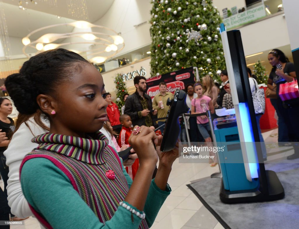 Skai Jackson star of Disney XD's hit series 'Kickin' It' gets ready to battle in the Wii U Showdown at Westfield Century City Mall in Los Angeles on December 9, 2012. Wii U is one of Nintendo's hottest items of the holiday season.