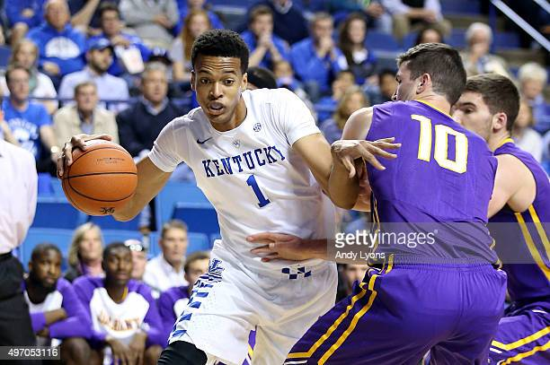 Skal Labissiere of the Kentucky Wildcats dribbles the ball during the game against the Albany Great Danes at Rupp Arena on November 13 2015 in...