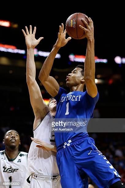 Skal Labissiere of the Kentucky Wildcats goes to the basket against Ruben Guerrero of the South Florida Bulls on November 27 2015 at the American...