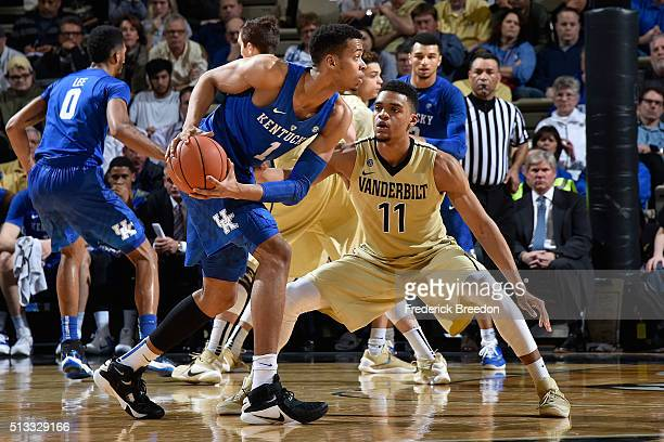 Skal Labissiere of the Kentucky Wildcats plays against Jeff Roberson of the Vanderbilt Commodores at Memorial Gym on February 27 2016 in Nashville...